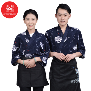 2019 wholesale custom print high quality traditional japanese chef sushi bar uniform