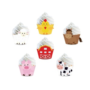 Farm Animal Cupcake Wrappers for Baby Shower Farmhouse Birthday Party Supplies party favor Cake Decorations 24Pcs