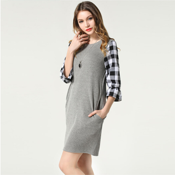 Black & Gray Casual Women Dress New Arrival 2015 Spring & Summer O-Neck Half-sleeve Plaid Dresses L-5XL Plus Size Women Clothing