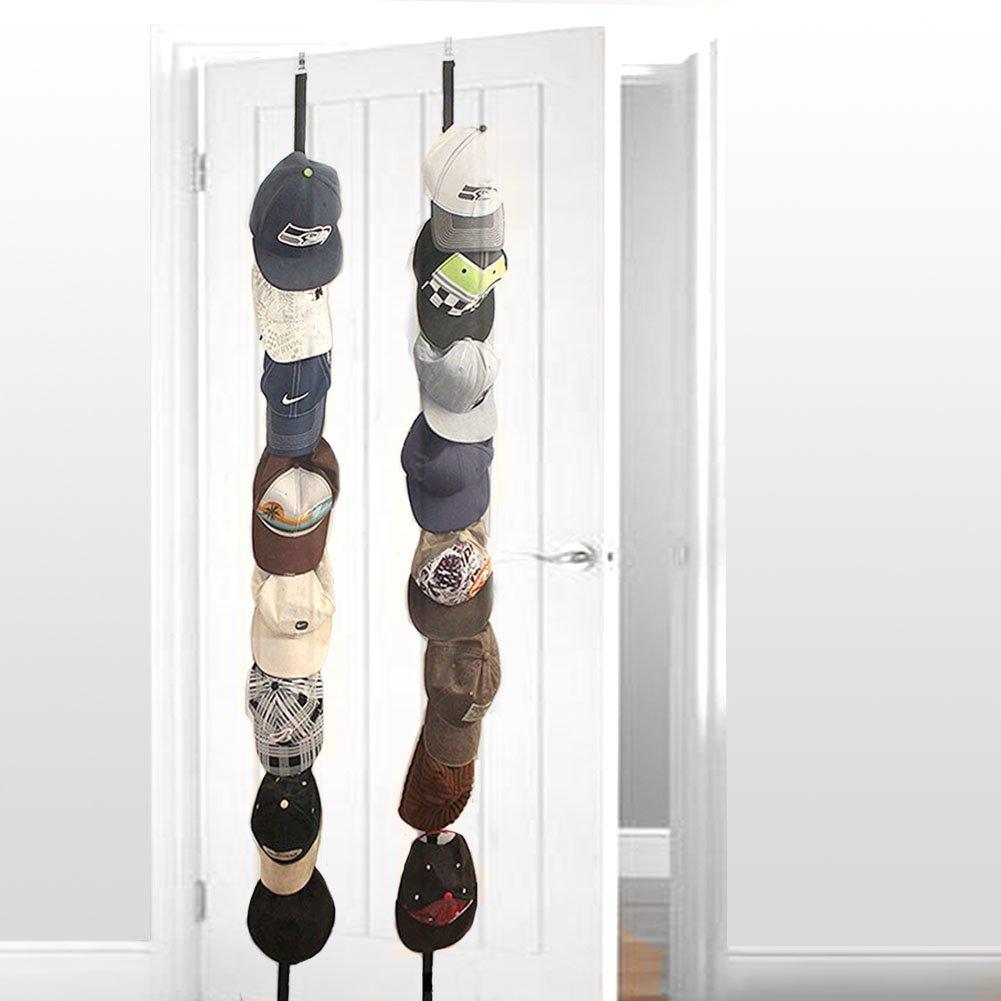 Cap Rack,2 Pack for 16 Caps Adjustable Wall Caprack Hang Up Organizer,Baseball Cap Over the Door Belt Hanger,Sports Ball Cap Holder,Closet Hat Display Rack Storage Rope UPDN Hook (Black)