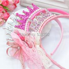 Růžová holčičí čelenka s princeznovskou korunkou s kamínky na Aliexpress