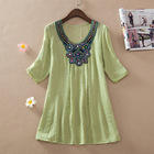 Women's embroidery and sequin neck Design lady blouse & top