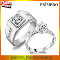 Forever Love Wedding Rings Pair, Couple Rings Men Jewelry Big Size Sterling Silver 925 and Zircon