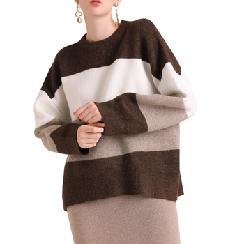 New design Custom Women Cable Knitted  contrast color stitching pullover  winter Sweater