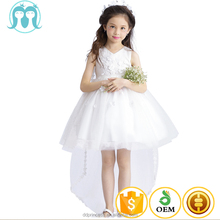2017 New kids cotton frocks design Angel white flower wedding dresses back long tail girls one piece party dresses kids clothing
