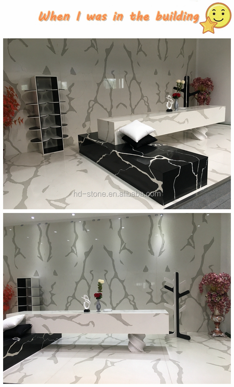 White Artificial Calacatta Quartz Stone White With Veins Calacatta Quartz Stone Tiles For Countertop