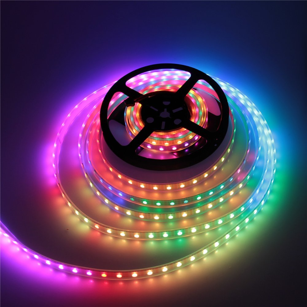 ALITOVE 16.4ft 300 Pixels WS2813 Upgraded WS2812B Individually Addressable RGB LED Flexible Strip Light 5050 SMD Dual Signal Wires Waterproof IP67 White PCB 5V DC