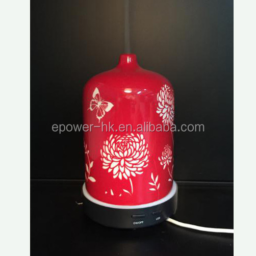 Red Water Bottle Electric USB Ceramic Flower Fragrance Ultrasonic Diffuser / Air Humidifier