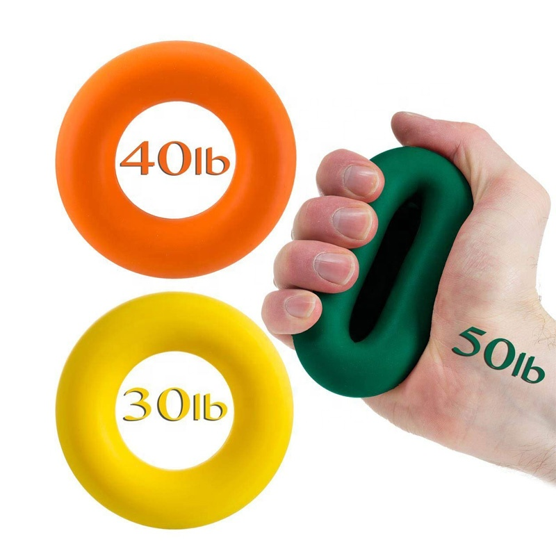 Muscle Power Training Rubber Ring Exerciser Strength Finger Silicone Hand Grip, Green;blue;orange