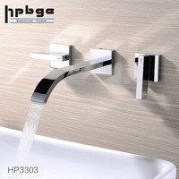 Brass Chrome Dual Handle Water Tap Wall Mounted Bathroom Faucet with Waterfall Spout