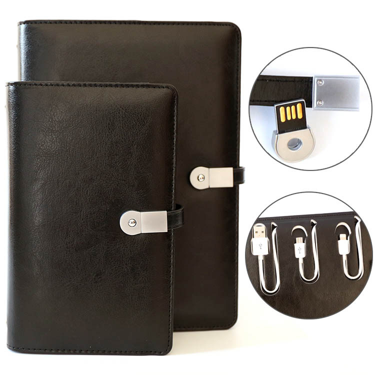 promotional functional pu cover leather business notebook organizer with USBlock and mobile phone charger power bank