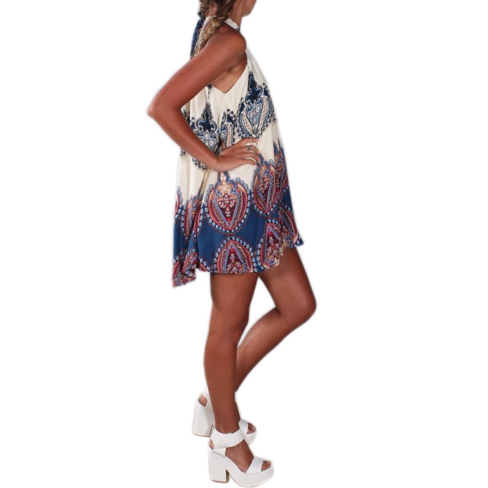6e0071e6d1a5 Anself Fashion Women Boho Dress Summer Loose Printed Halter Style Sleeveless  Hippie Mini Dress Plus Size ...