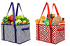 Deluxe collapsible reusable shopping box grocery bag set with reinforced bottom grocery box