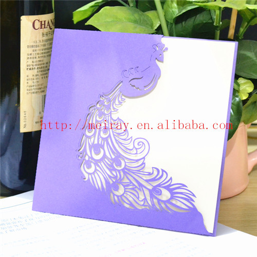 Latest Wedding Cards Designs Purple Peacock Invitation Laser – Latest Wedding Invitation Cards Designs