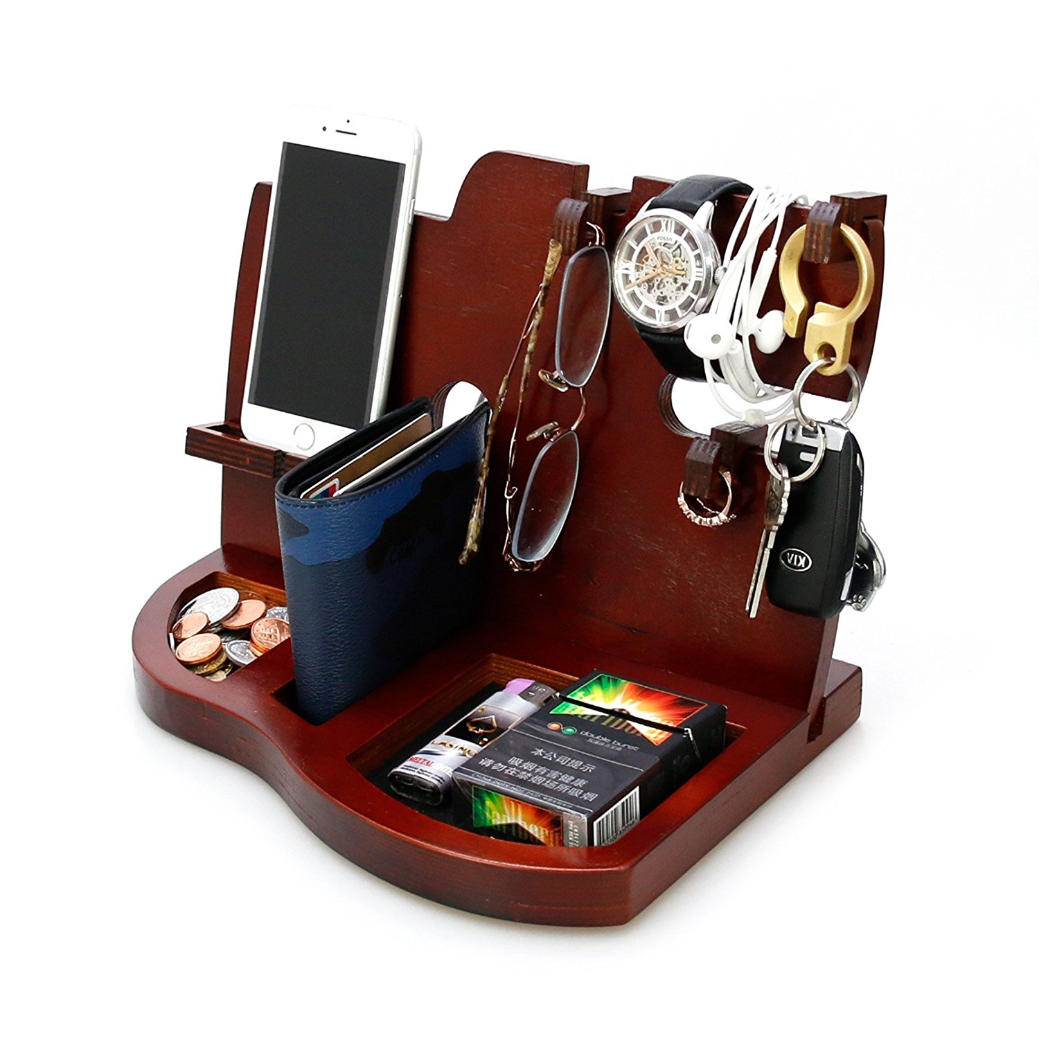 Buy Red Wooden Phone Docking Station With Key Holder Wallet