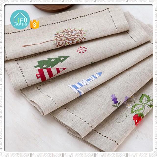 Linen cotton fabric table napkin dinner embroidered restaurant cloth napkins