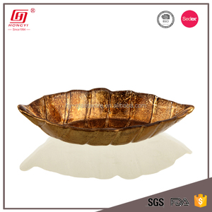 Fancy household items lead free antique copper color leaf shape small glass bowl