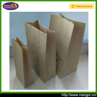 80g One Layer Brown White Square Bottom Paper Pouch For Food Easy Take Away Bread
