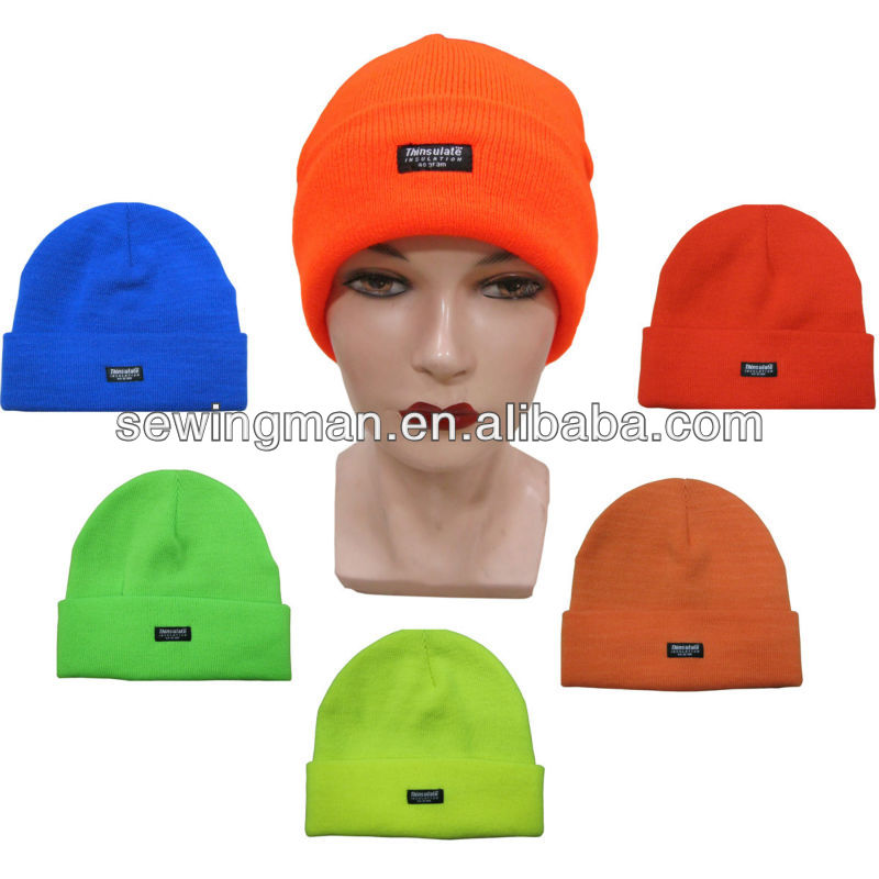 Skiing Hat Visible Color Fluorescence Knit Cuff Beanie Hat