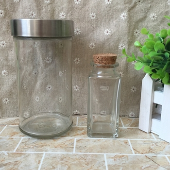 21 oz Jar With Stainless Steel Lids Straight Glass Jar For Food