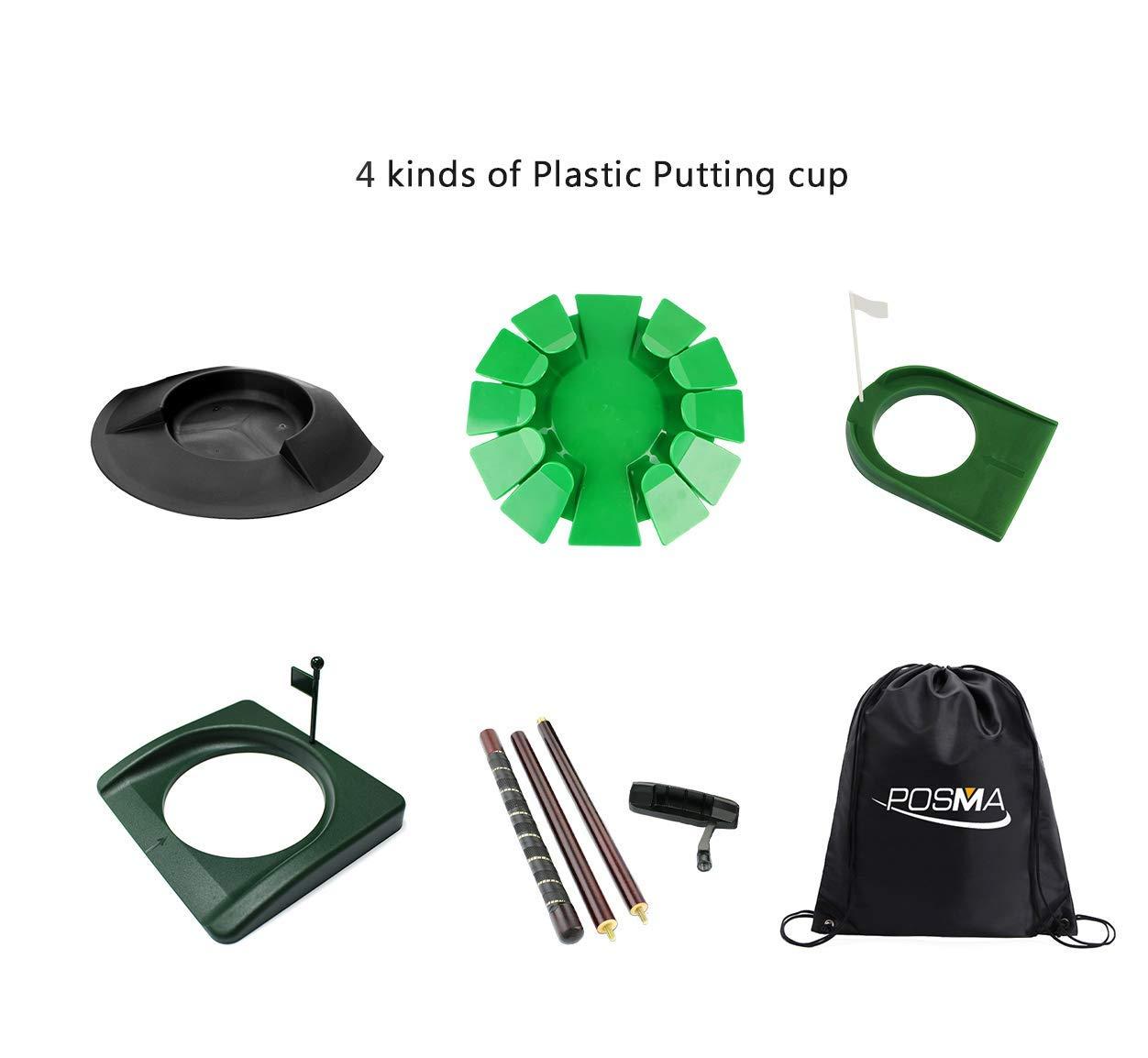 POSMA PHS018 Plastic Practice Putting Cup Golf Hole Training Aid Indoor/Outdoor Bundle Set with 4 Kinds of Plastic Putting Cup+1 Set of Detachable Putter+Black Cinch Sack Bag
