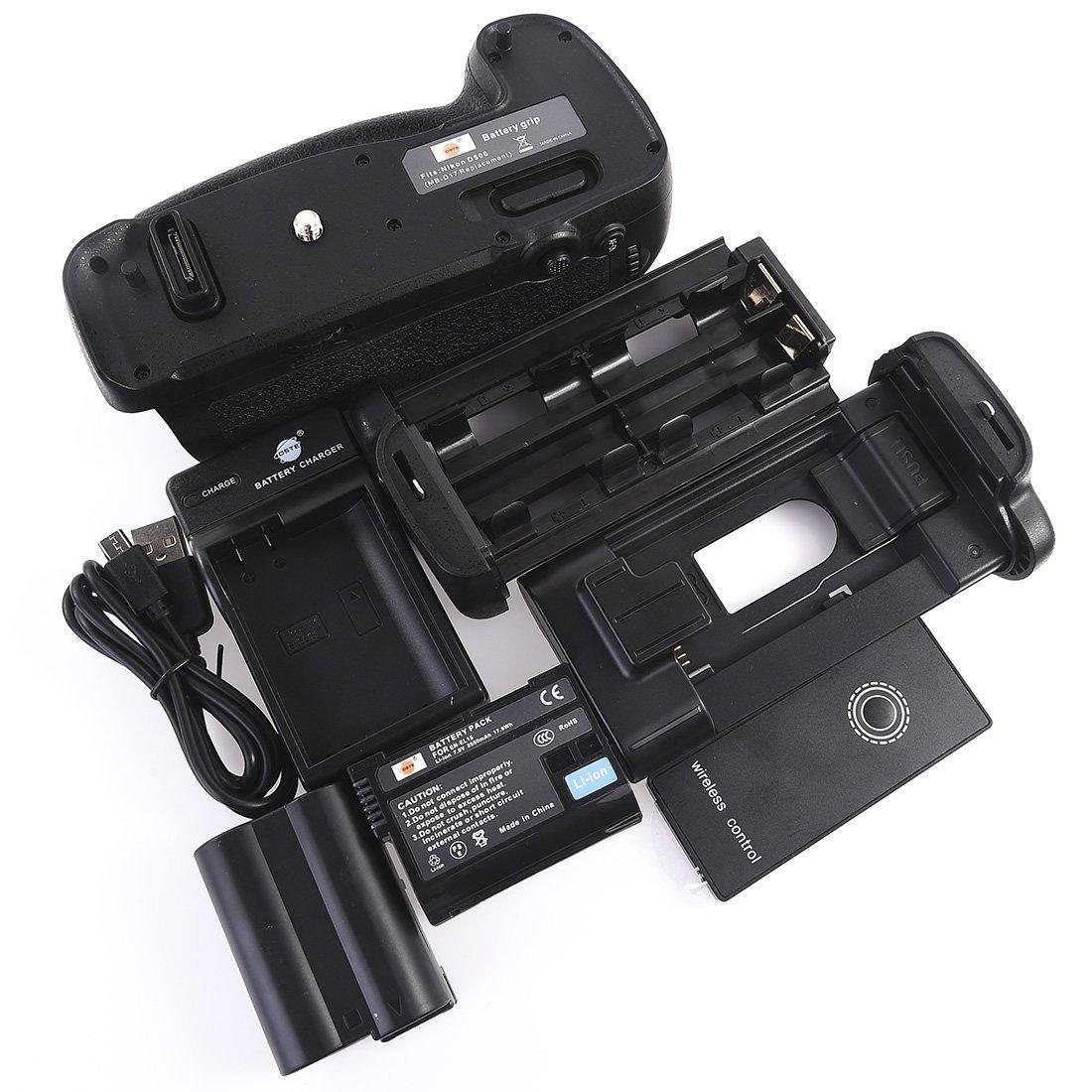 DSTE MB-D17 Battery Grip with Remote Control + 2x EN-EL15 Battery + USB Charger for Nikon D500
