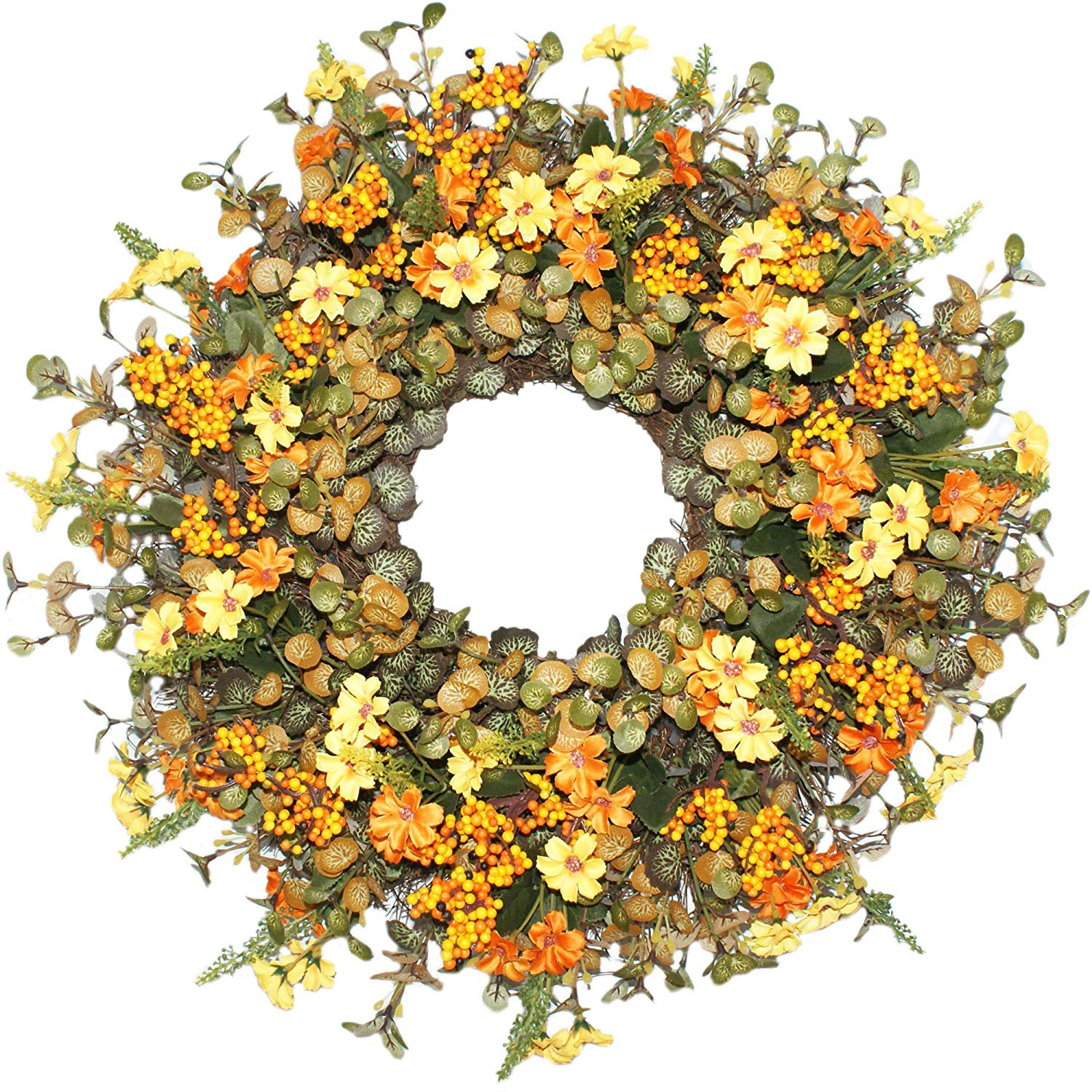 Emlyn Berry Daisy Silk Summer and Fall Front Door Wreath 18 Inches - Brightens Front Door Decor with Vibrant Fall Colors, All Weather Outdoor Wreath That Lasts for Years- Golden Yellow