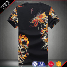 yingzhong garment Mens Black Longline Short Sleeve T shirt Lengthen 10cm 100% Cotton Plain Extra Long T Shirts Deep Cut
