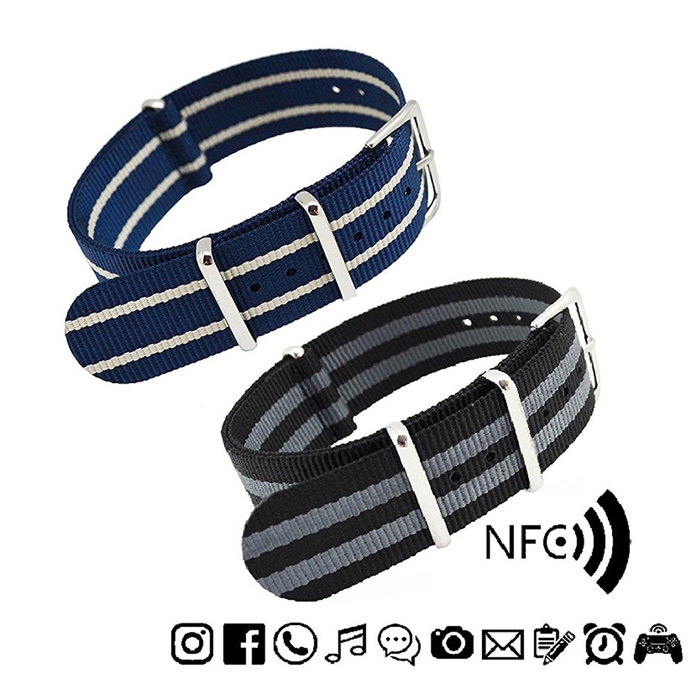 MetaStrap 2pcs 22mm NFC Nylon Watch Band NATO Strap