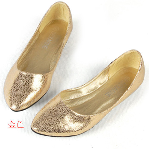 Silver Pointed Flat Shoes