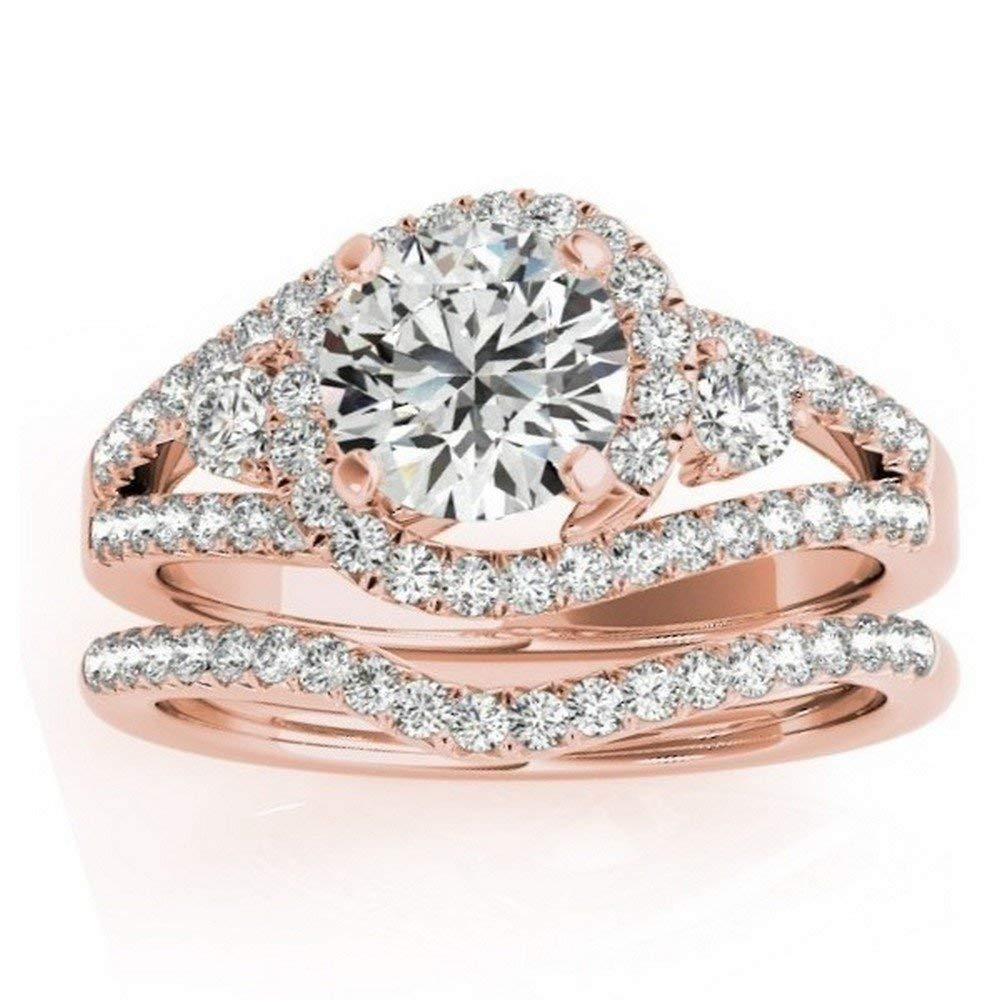 Swirl Halo Diamond Engagement Ring Setting and Contour Wedding Band Bridal Set in 14k Rose Gold 1.00ct