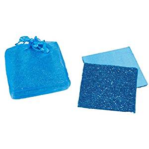 Turquoise Blue Beaded Square Satin Backed Coasters, Set of 6 in Organza Gift Bag