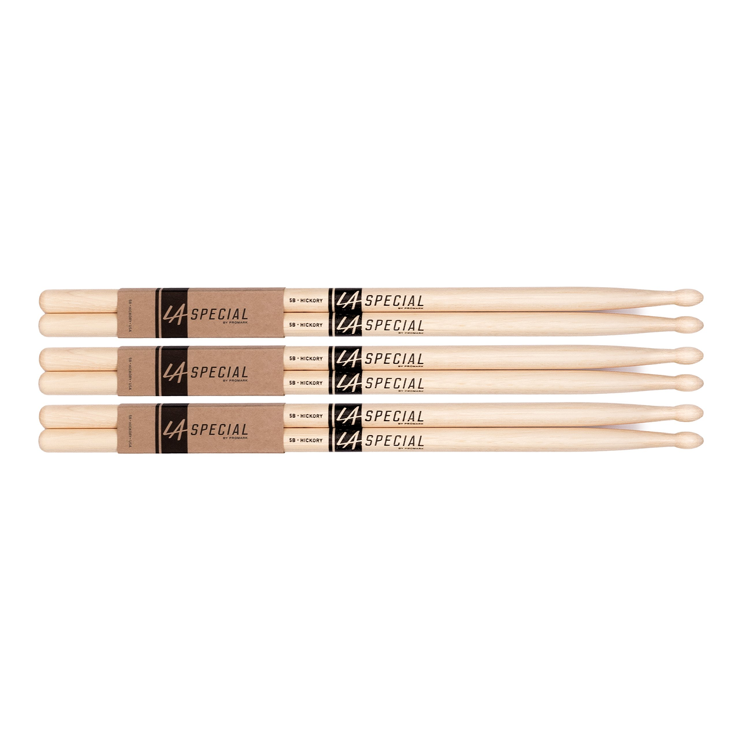 LA Specials by Promark 5B Hickory Drumsticks, 3-pack