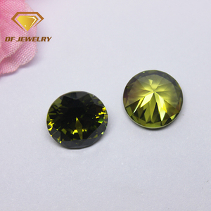 AAA loose gemstone wholesale price 10mm cz rough Olive round cubic zirconia