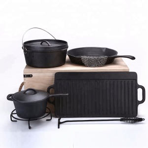 Preseasoned camping cast iron large cooking pots set