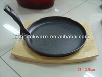 Mexican Cast Iron Sizzling Steak Plate with Wooden Base