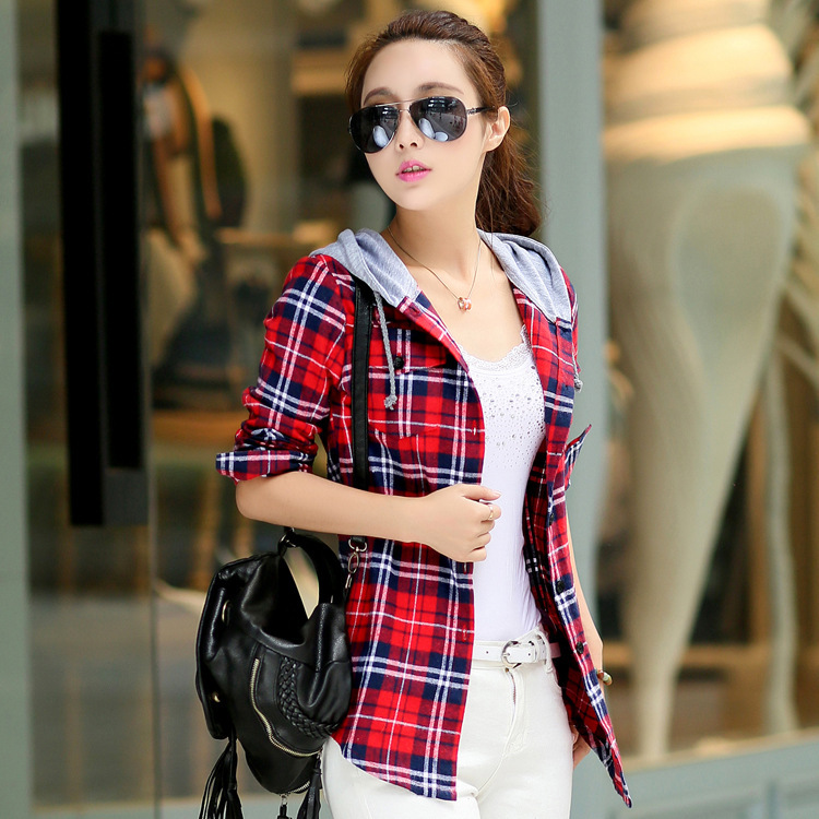 New Arrival 2015 Autumn Cotton Long Sleeve Red Checked Plaid Shirt Women Hoodie Casual Fit Blouse