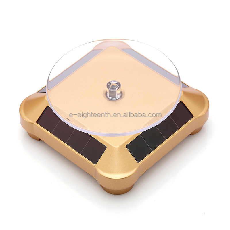 Solar Powered Jewelry Phone Watch Rotating Display Stand Turn Table Plate