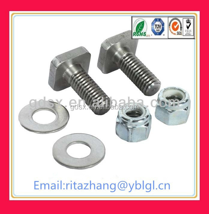 2015 hot sale T square m10x1.25 stainless steel bolt OEM bolts
