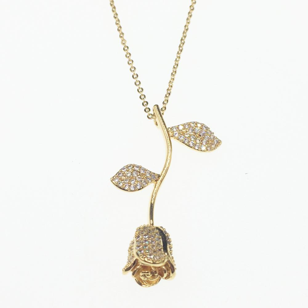 Echsio Rose CZ Pendant Necklace White Gold Jewelry Fancy Brass Cubic Zirconia Necklace For Wedding Bridal Gold Filled XL089 фото