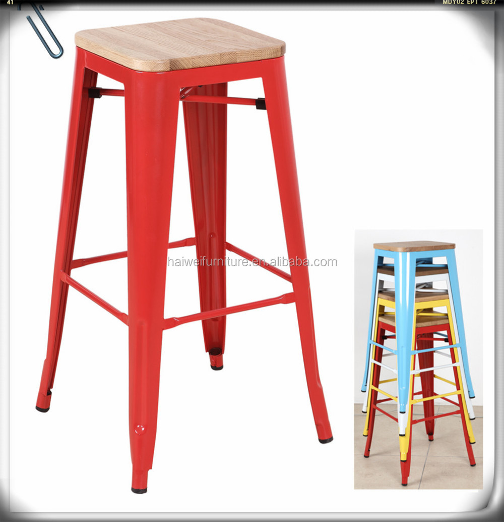 Cheap Stackable Metal Bar Stools Low Seat Height 18