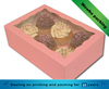 Pink 6 packs cupcake paper box with pvc window