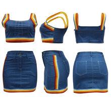 Комплект с юбкой, высокое качество, джинсы в полоску, шорты, Женский комплект 2 шт., сексуальный укороченный топ, мини юбки, комплекты, джинсов...(Китай)