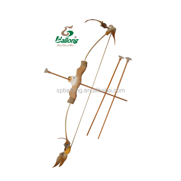 Hand carved animal handle kids toy wooden bow and arrow