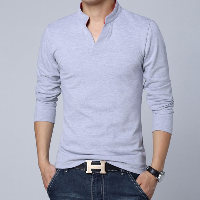 New Fashion Brand Men Clothes Solid Color Long Sleeve Slim Fit T Shirt Men  Plain Cotton T-Shirt ced88c27f32