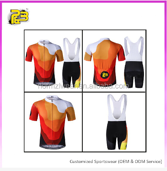 Newest customized Cycling bib Sets Short Sleeve Jersey Padded Shorts Mountain Bike Cycling Clothing For Men