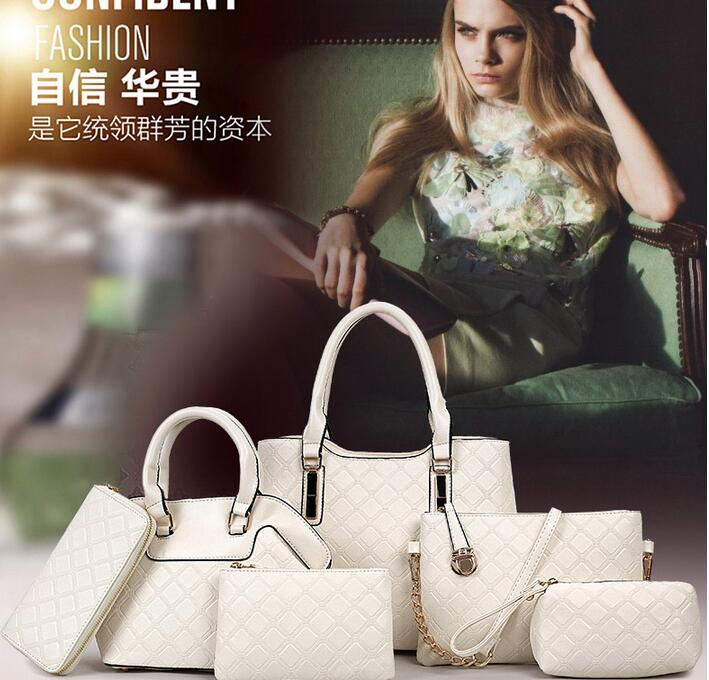High quality hot sale newest designer fashion bags set 6 pcs lady handbag made in leather from China