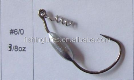 OEM New high carbon steel worm hooks--weighted worm hook and jig head