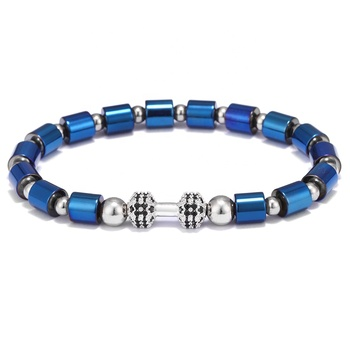 Fashion Mens Womens Handmade Zirconia Copper Dumbbell Charm Hematite Beads Beaded Bracelet