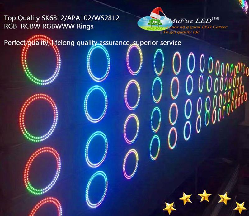 5v Ws2812B sk6812 apa102 rgbw rgb rgbww 5050  Angle eye LED Ring Lights with 14 Keys RF Pixel Controller